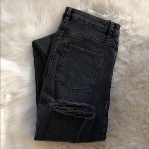 TALL Black Girlfriend Jeans w/ Bum Rips